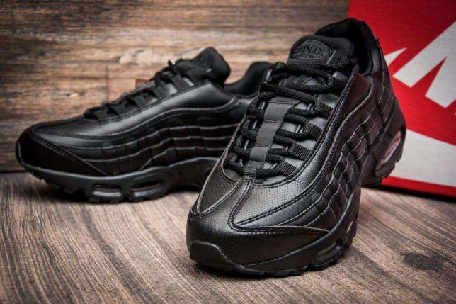 Мужские кроссовки Nike Air Max 95 черные кожаные   продажа, цена в ... 327f3aaa972