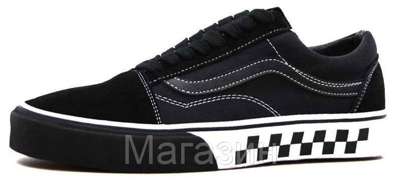 Женские кеды Vans Old Skool Black (Ванс Олд Скул) в стиле черные