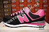 Кроссовки New Balance 574 Black Pink Черные женские реплика, фото 3