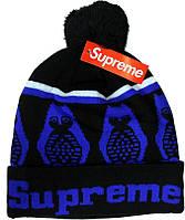 Шапка Supreme с помпоном черно-синяя