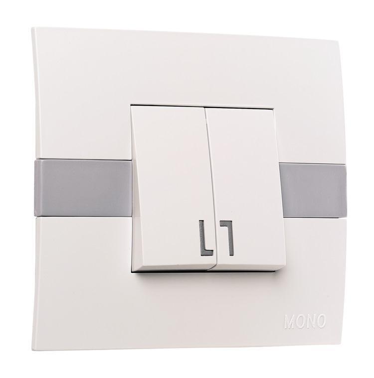 Выключатель двухклавишный с подсветкой ECO Mono Electric белый без вставки