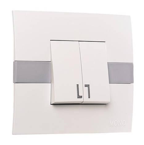 Выключатель двухклавишный с подсветкой ECO Mono Electric белый без вставки, фото 2