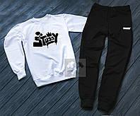 Спортивный костюм мужской Stussy Белый с черным (РЕПЛИКА)
