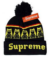 Зимняя шапка Supreme черная с желтым