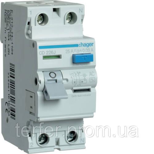 Пристрій захисного відключення 2P 25A 30mA AC Hager CD226J