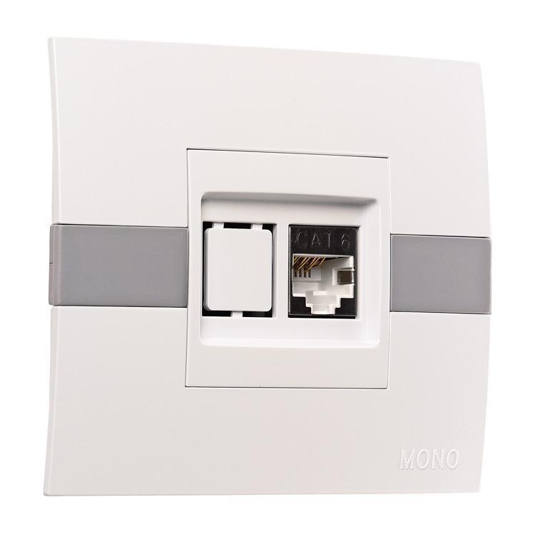 Розетка компьютерная ECO Mono Electric белая без вставки