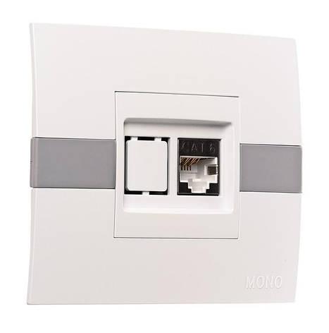 Розетка компьютерная ECO Mono Electric белая без вставки, фото 2