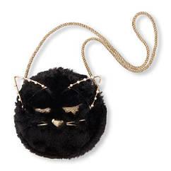 П, Сумка хутряна чорний кіт Cat Fuzzy Circle Bag The children's Place США