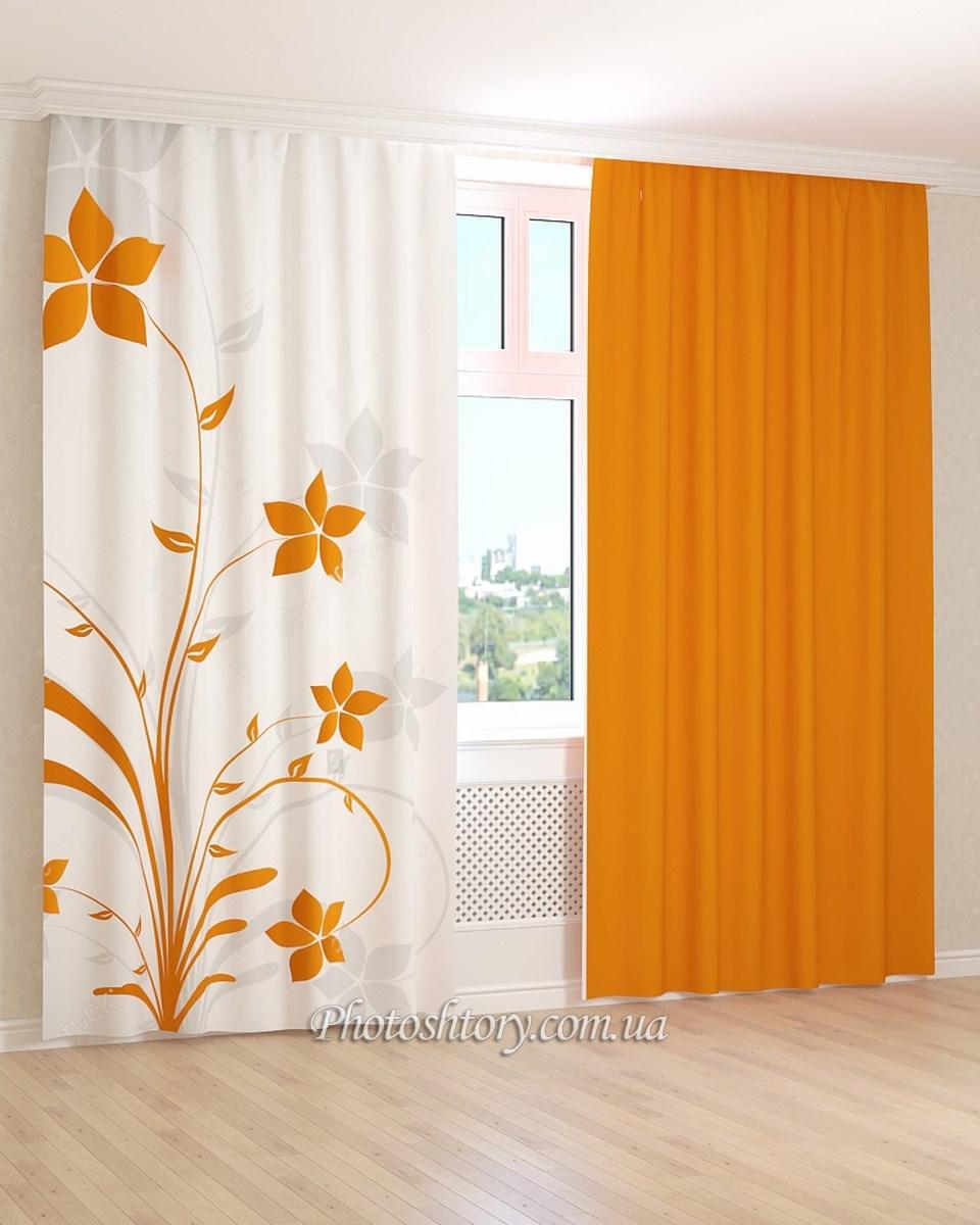 Фотошторы рисунок оранжевого цветка 3Д