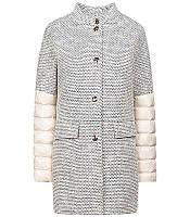 Madzerini пальто текстиль биопух  женское  SILVA beieg-navy, фото 1