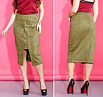 Женская замшевая юбка миди украшенная шнуровкой, фото 2