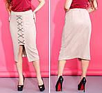 Женская замшевая юбка миди украшенная шнуровкой, фото 7