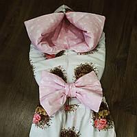 Конверт-трансформер для новорожденных с розовым бантом