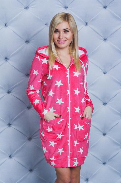 Велюровый халат с капюшоном  Звезды (42-58)