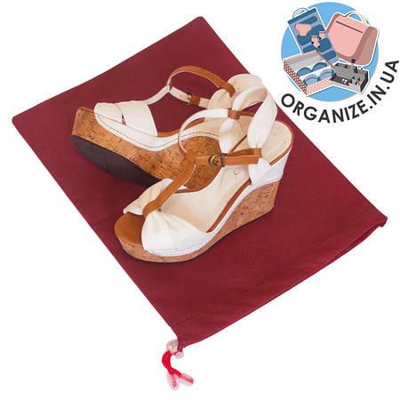 Мешок-пыльник для обуви с затяжкой (бордовый)