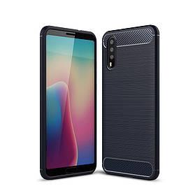 Чехол накладка для Huawei P20 силиконовый, Carbon Fibre, темно-синий