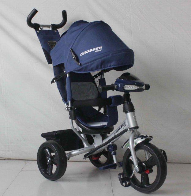 Велосипед детский трехколесный Azimut Crosser One T1 ФАРА (надувные колёса) синий