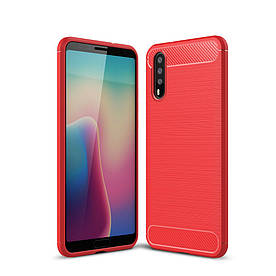 Чехол накладка для Huawei P20 силиконовый, Carbon Fibre, красный