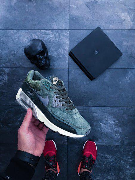 Женские кроссовки Nike Air Max 90 LTHR  Carbon Green найк зеленые ... af7436e0bfd60