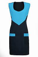 Фартук габардиновый двойной голубой с черным «Треугольник»