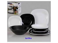 Сервіз столовий-19пр, набор посуды гранитно-белый, Lum.Carine Granit&Black., N7669