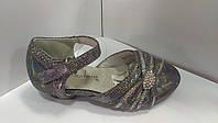Туфли на девочку детские серые голограмма