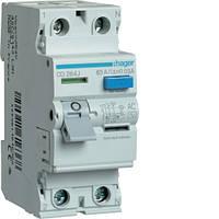 Пристрій захисного відключення 2P 63A 30mA AC Hager CD264J