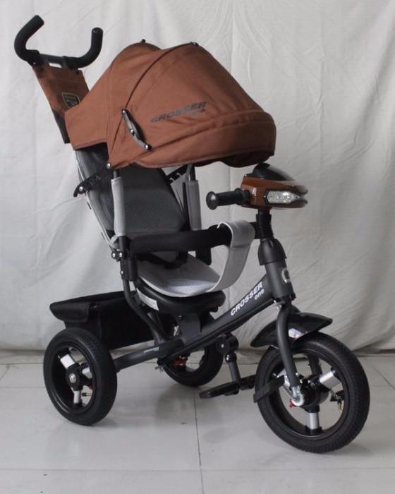 Велосипед детский трехколесный Azimut Crosser One T1 ФАРА (надувные колёса) кофе с молоком