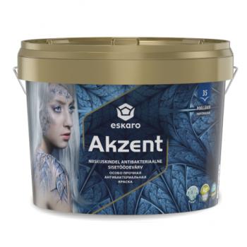 Антибактериальная особо прочная влагостойкая полуглянцевая моющаяся краска для стен ESKARO Akzent, 0,9л, фото 2