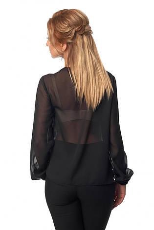 Стильная однотонная блузка из шифона для деловых женщин, фото 2