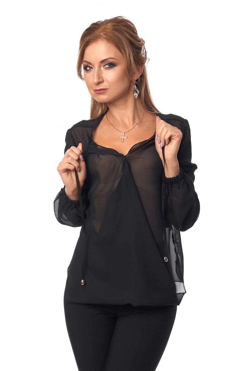 Стильная однотонная блузка из шифона для деловых женщин