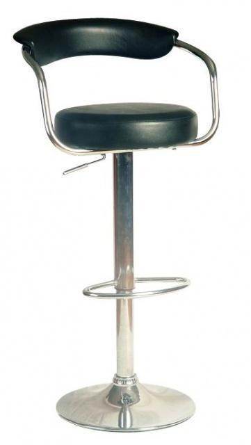 Стул парикмахерский кожаный со спинкой YRE-682 Черный