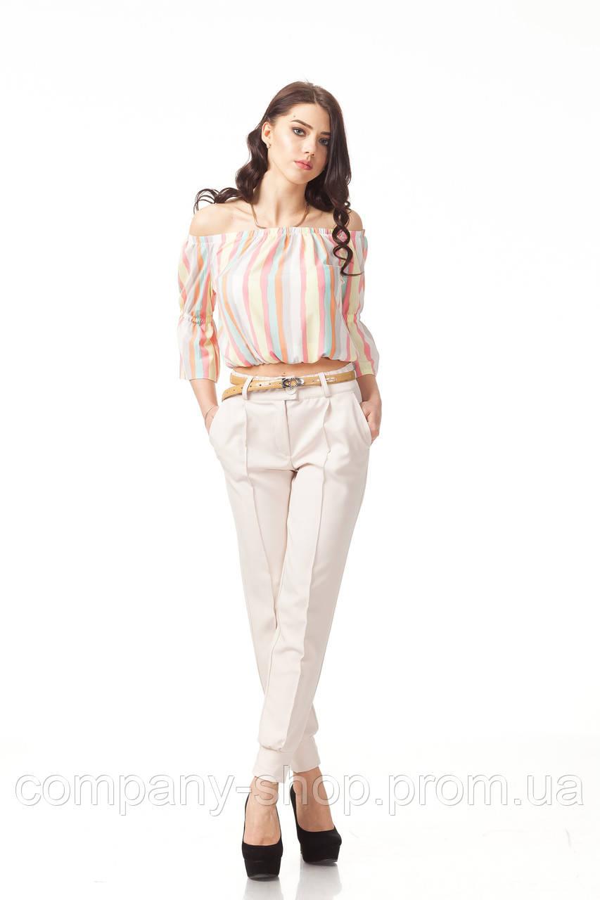 Летние женские брюки. Модель БР23_светло-бежевый креп.