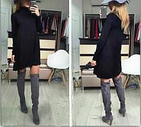 Стильное расклешенное к низу платье, с удлинением сзади, горло-стойка черное