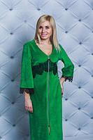 Велюровый халат с кружевом (42-58) зеленый