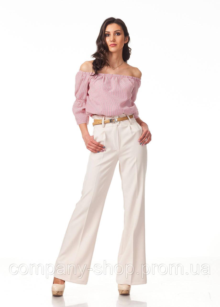 Широкие женские брюки оптом. Модель БР22_светлый беж.