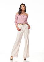 Широкие женские брюки оптом. Модель БР22_светлый беж., фото 1