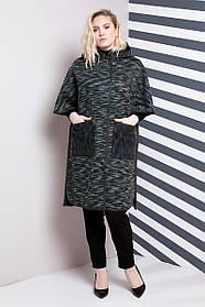 Женское пончо больших размеров 634 / размер 60-70 / цвет хаки