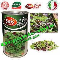 Мини МИКС салатных трав (рукола, мангольд, шпинат, красная горчица, тат-сои) Sais (Италия), банка 500 грамм.
