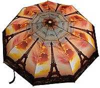 """Женский зонт складной автомат """"Города"""". Зонтик от дождя Париж, Эйфелевая башня."""