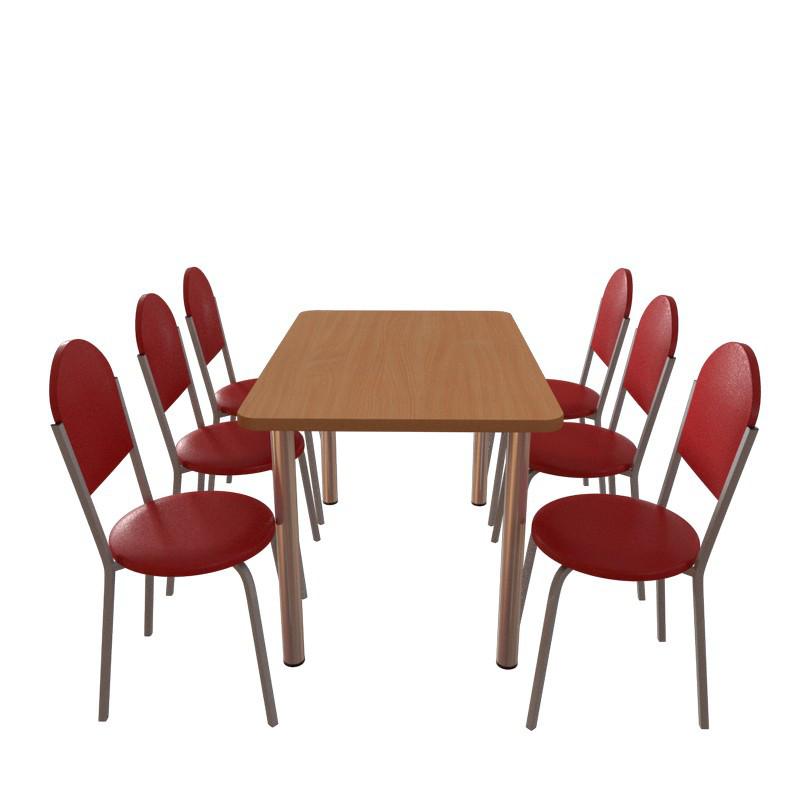 Комплект мебели  для кафе: стол обеденный Хром + 6 стульев Velas