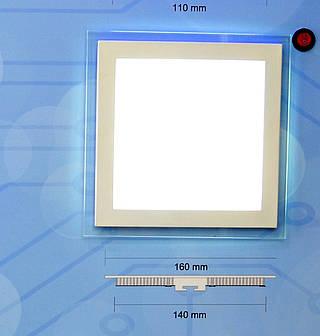 Светодиодный встраиваемый светильник потолочный Bellson Glass квадрат (12 Вт, 160х160 мм)