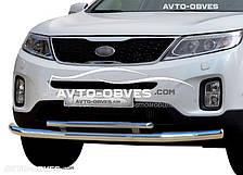 Защита переднего бампера Kia Sorento 2013-… двойной ус (пр. Украина)