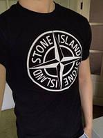 Футболка Stone Island, черная с логотипом, унисекс (мужская, женская, детская)