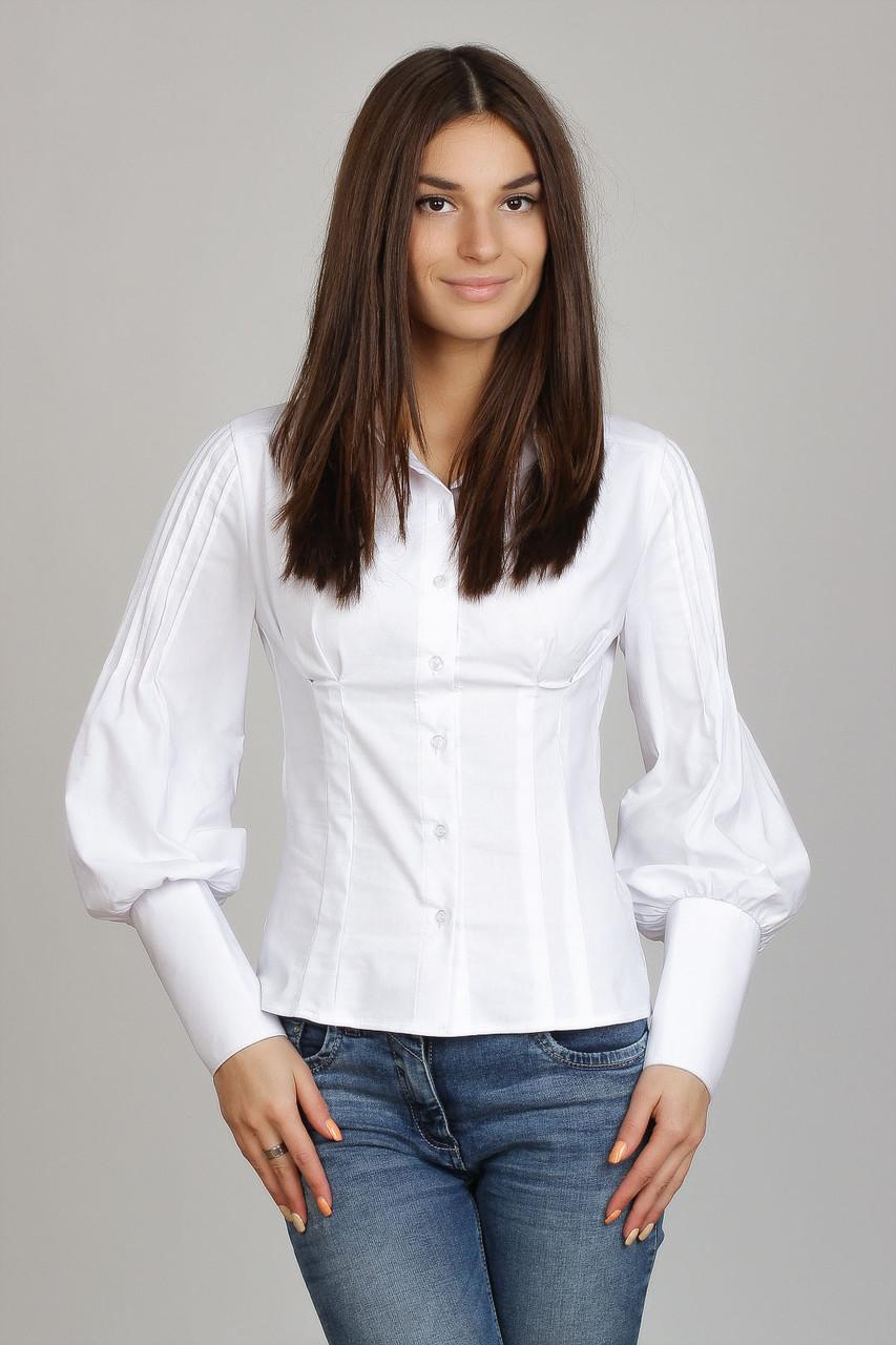 24eda6ac7ad Деловая белая женская блузка с рукавом