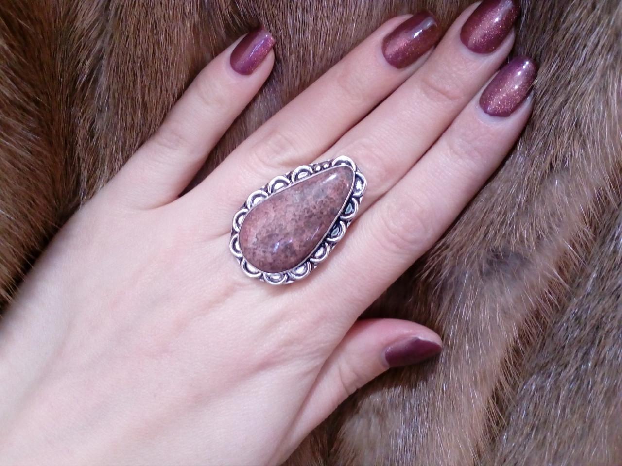 Красивое кольцо с агатом в серебре. Кольцо с камнем агат 17,5 размер Индия, фото 1