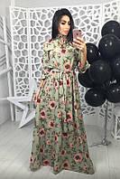 Длинное женское платье в цветы
