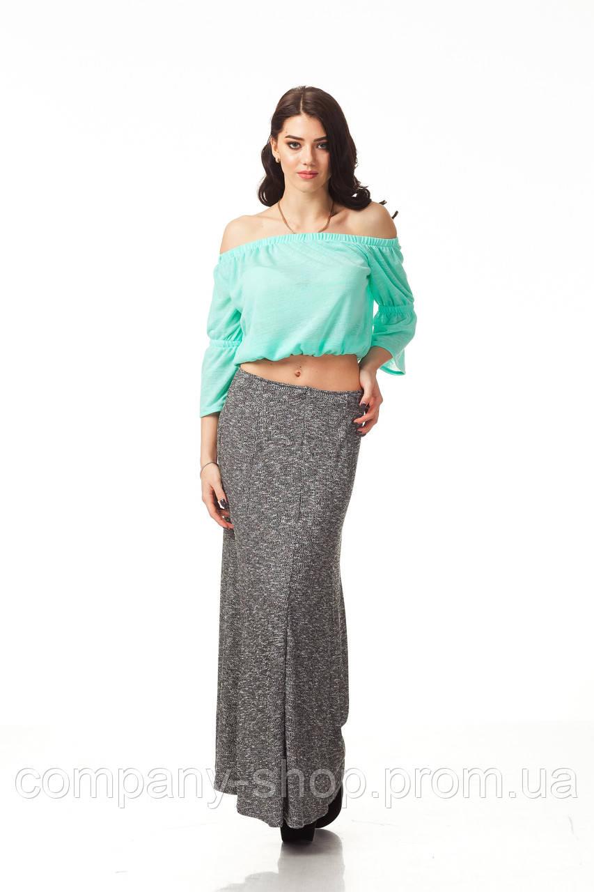 Женская юбка макси. Модель Ю093_черная вязка.