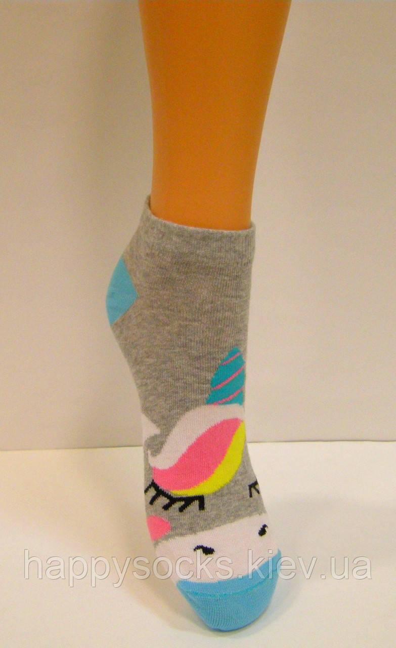 Женские носки с ярким рисунком хлопковые заниженные