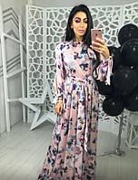 Шелковое длинное платье в цветы
